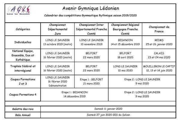 Calendrier Rando Jura 2020.Avenir Gymnique Ledonien Lons Le Saunier Jura